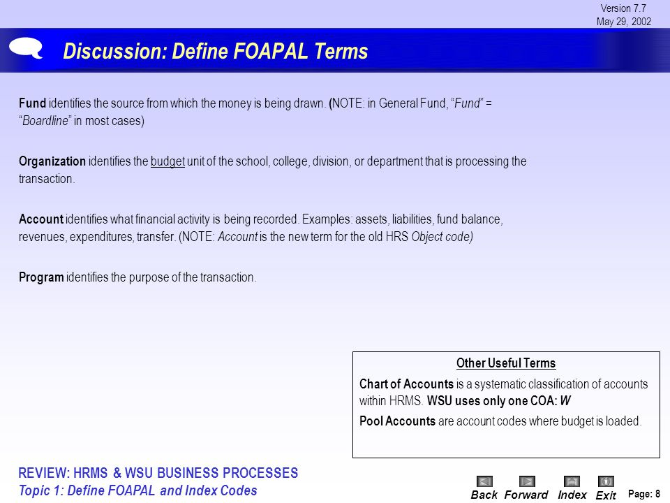 Version 7.7 May 29, 2002 BackForwardIndex Exit Page: 9 Discussion: Define the FOAPAL Acronyms AcronymCOAFOAPAL ElementChart of Accounts FundOrgani- zation AccountProgramActivityLocation Identifies Where the money is drawn from Budget unit of the School, College, Division, or Department processing the transaction What financial activity is being recorded Purpose of the transaction N/APhysical Location Maximum # of Characters per Field 1666666  REVIEW: HRMS & WSU BUSINESS PROCESSES Topic 1: Define FOAPAL and Index Codes