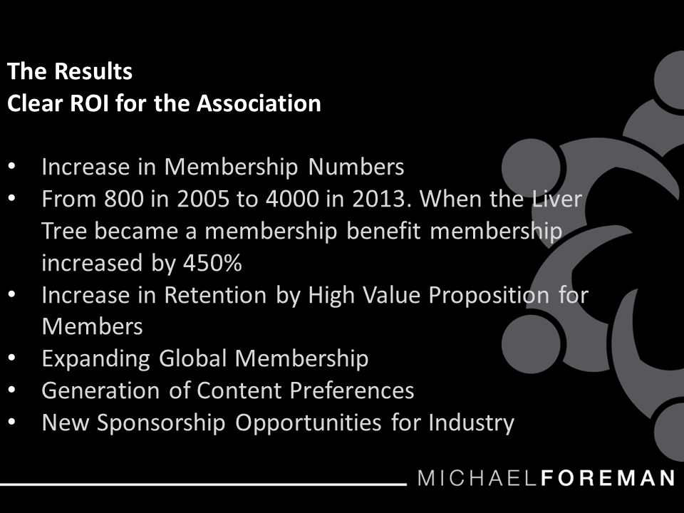 The Results Clear ROI for the Association Increase in Membership Numbers From 800 in 2005 to 4000 in 2013.