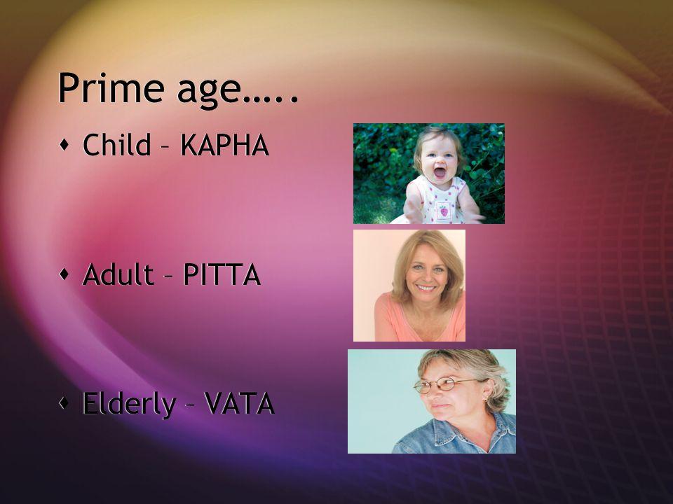 Prime age…..  Child – KAPHA  Adult – PITTA  Elderly – VATA  Child – KAPHA  Adult – PITTA  Elderly – VATA