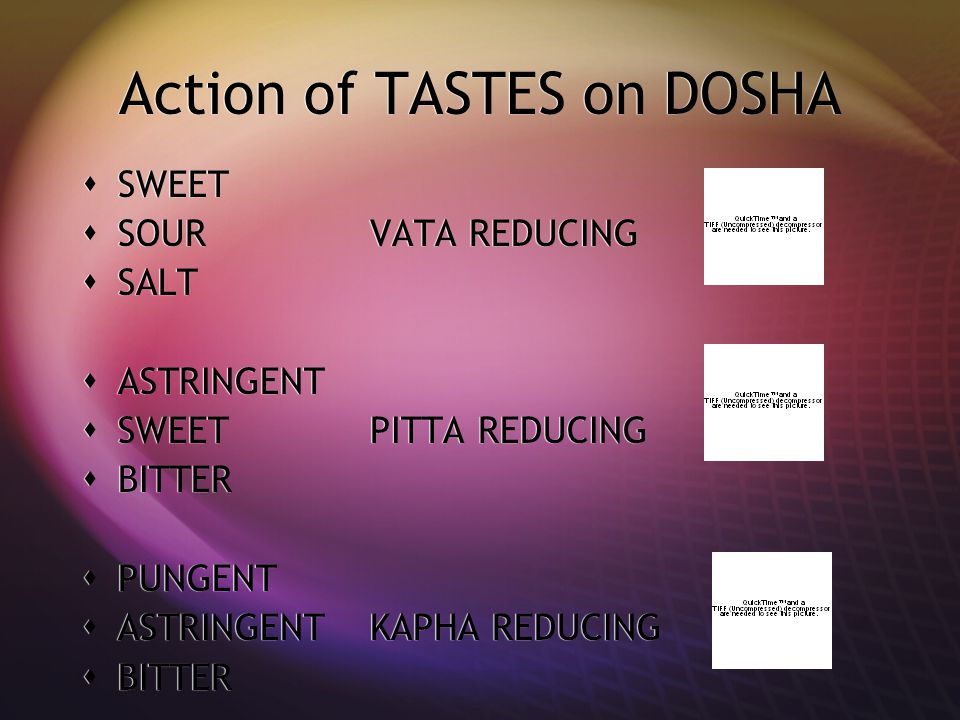 Action of TASTES on DOSHA  SWEET  SOURVATA REDUCING  SALT  ASTRINGENT  SWEETPITTA REDUCING  BITTER  PUNGENT  ASTRINGENTKAPHA REDUCING  BITTER  SWEET  SOURVATA REDUCING  SALT  ASTRINGENT  SWEETPITTA REDUCING  BITTER  PUNGENT  ASTRINGENTKAPHA REDUCING  BITTER