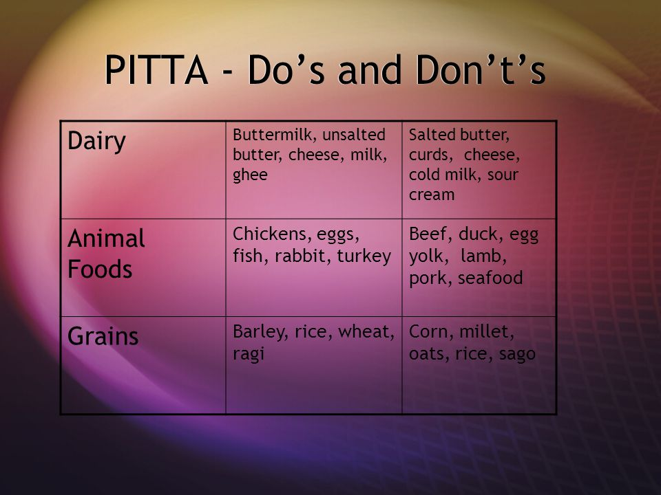 PITTA - Do's and Don't's Dairy Buttermilk, unsalted butter, cheese, milk, ghee Salted butter, curds, cheese, cold milk, sour cream Animal Foods Chickens, eggs, fish, rabbit, turkey Beef, duck, egg yolk, lamb, pork, seafood Grains Barley, rice, wheat, ragi Corn, millet, oats, rice, sago