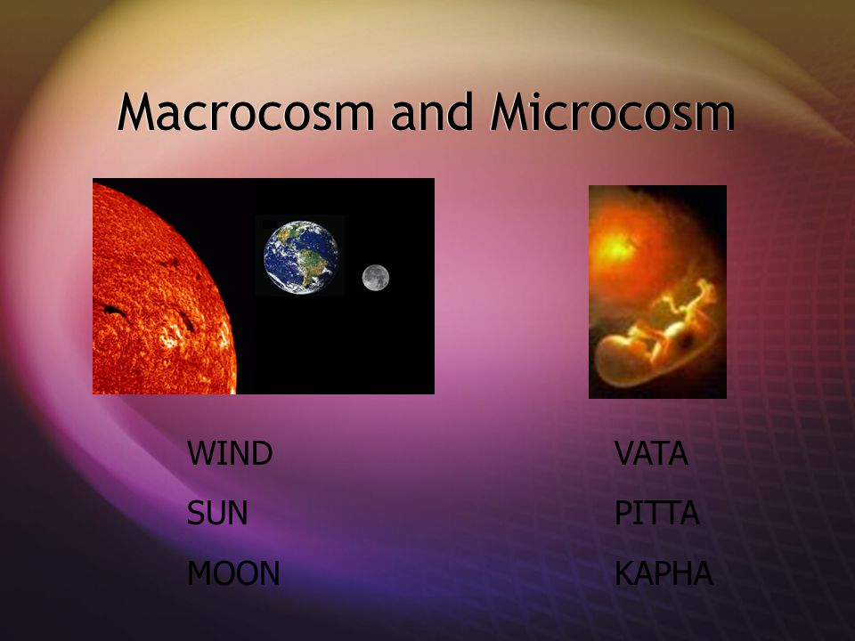 Macrocosm and Microcosm WIND VATA SUNPITTA MOON KAPHA