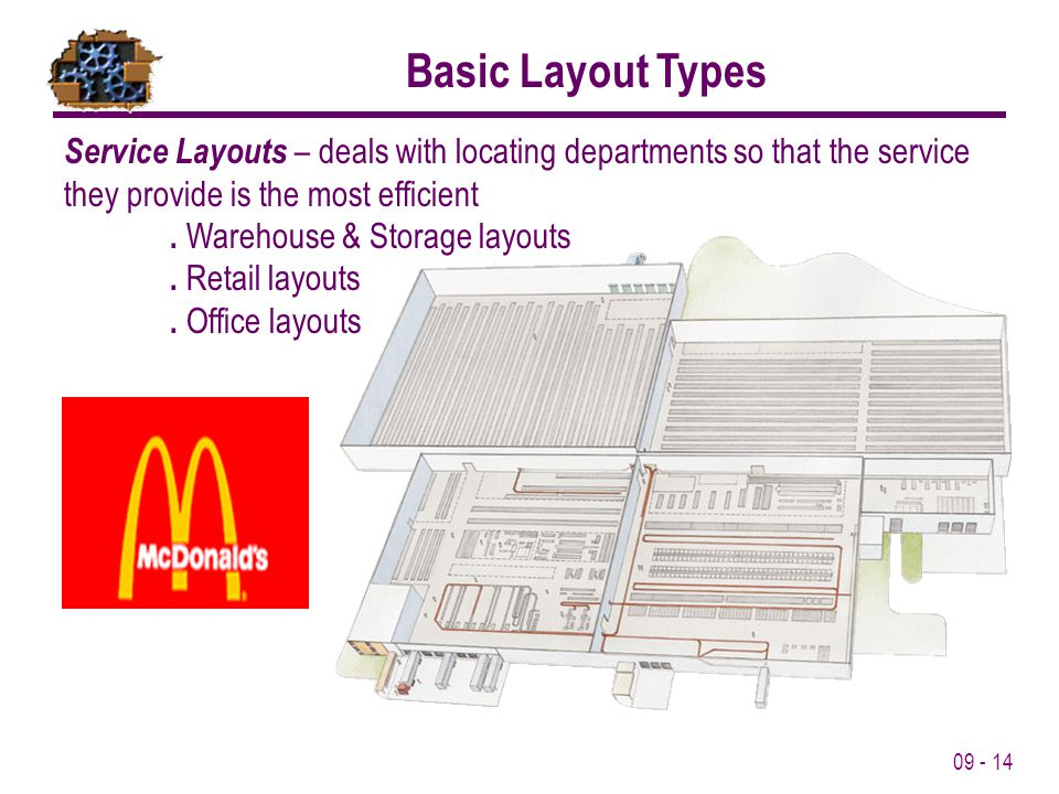 09 - 14 Basic Layout Types Service Layouts – deals with locating departments so that the service they provide is the most efficient. Warehouse & Stora