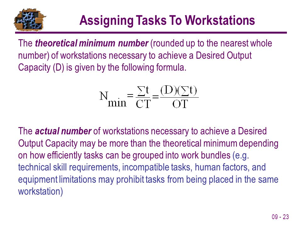 09 - 23 Assigning Tasks To Workstations The theoretical minimum number (rounded up to the nearest whole number) of workstations necessary to achieve a