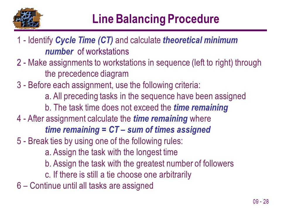 09 - 28 Line Balancing Procedure 1 - Identify Cycle Time (CT) and calculate theoretical minimum number of workstations 2 - Make assignments to worksta