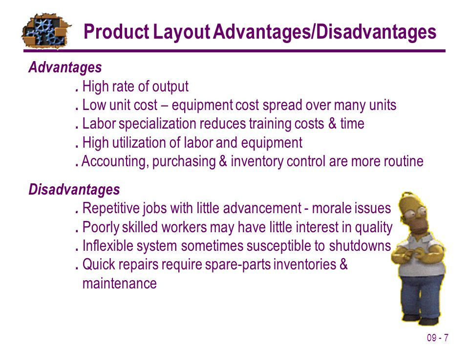 09 - 7 Product Layout Advantages/Disadvantages Advantages. High rate of output. Low unit cost – equipment cost spread over many units. Labor specializ