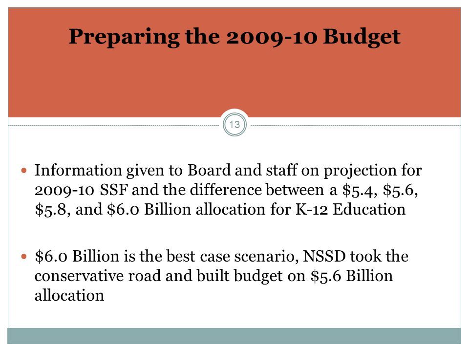 13 Preparing the 2009-10 Budget Information given to Board and staff on projection for 2009-10 SSF and the difference between a $5.4, $5.6, $5.8, and $6.0 Billion allocation for K-12 Education $6.0 Billion is the best case scenario, NSSD took the conservative road and built budget on $5.6 Billion allocation