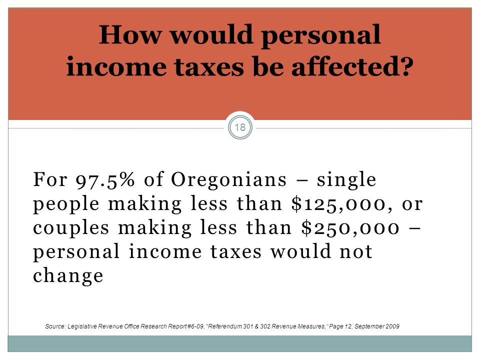 18 For 97.5% of Oregonians – single people making less than $125,000, or couples making less than $250,000 – personal income taxes would not change How would personal income taxes be affected.
