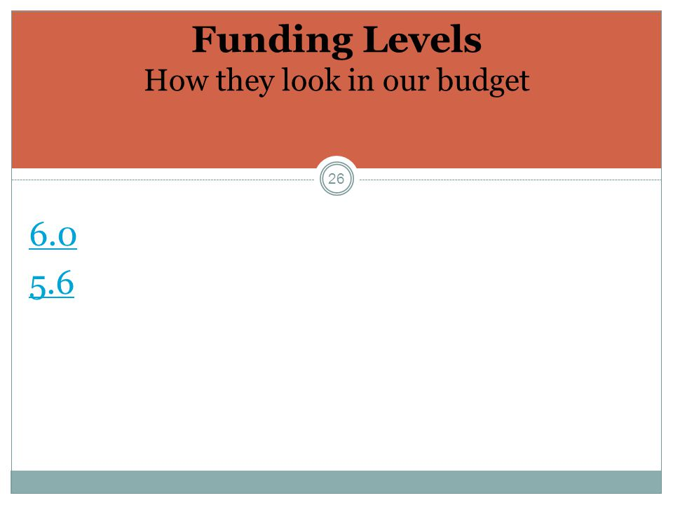 26 Funding Levels How they look in our budget 6.0 5.6