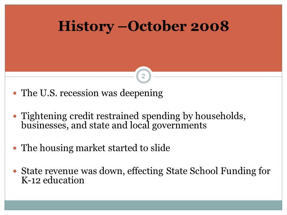 2 History –October 2008 The U.S.