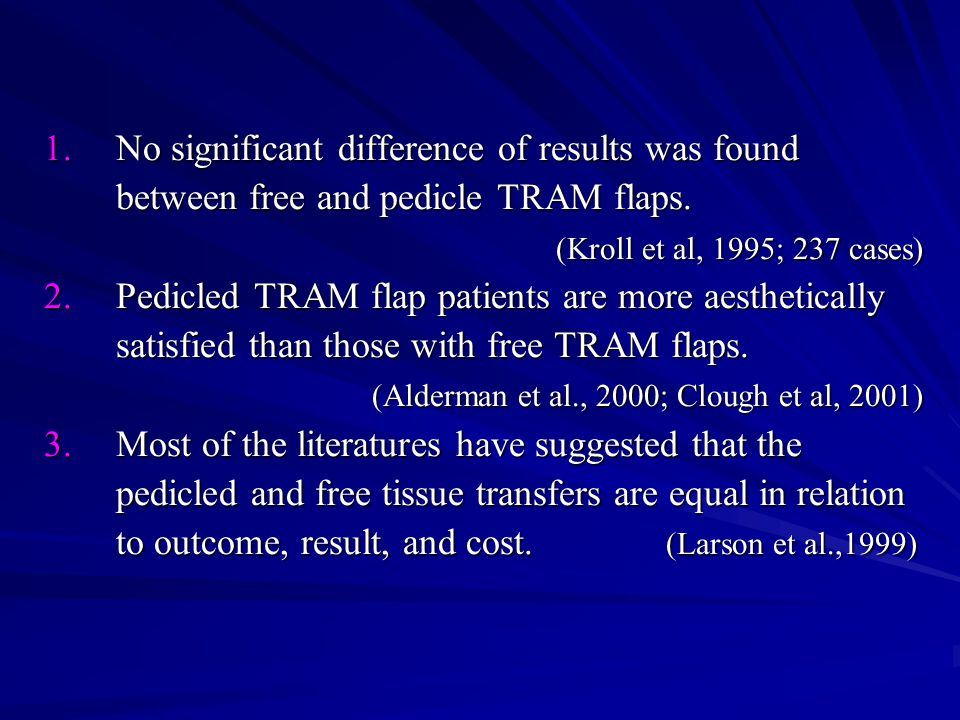 1.No significant difference of results was found between free and pedicle TRAM flaps.