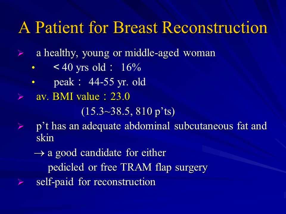 A Patient for Breast Reconstruction  a healthy, young or middle-aged woman < 40 yrs old : 16% peak : 44-55 yr.