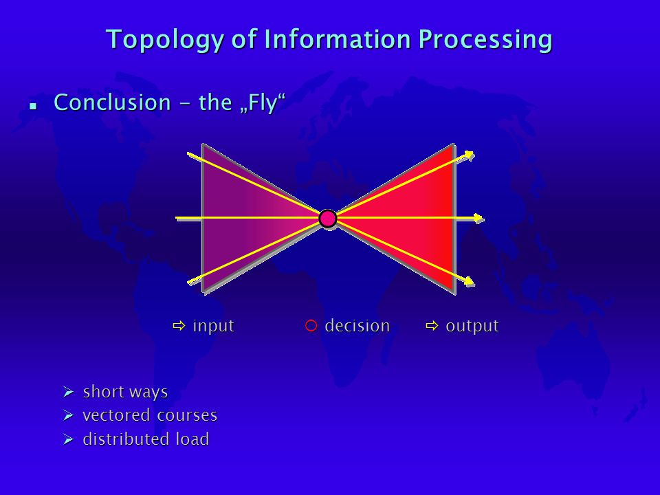 "Topology of Information Processing n Conclusion - the ""Fly"" ¡decision ðoutput ðinput Øshort ways Øvectored courses Ødistributed load"