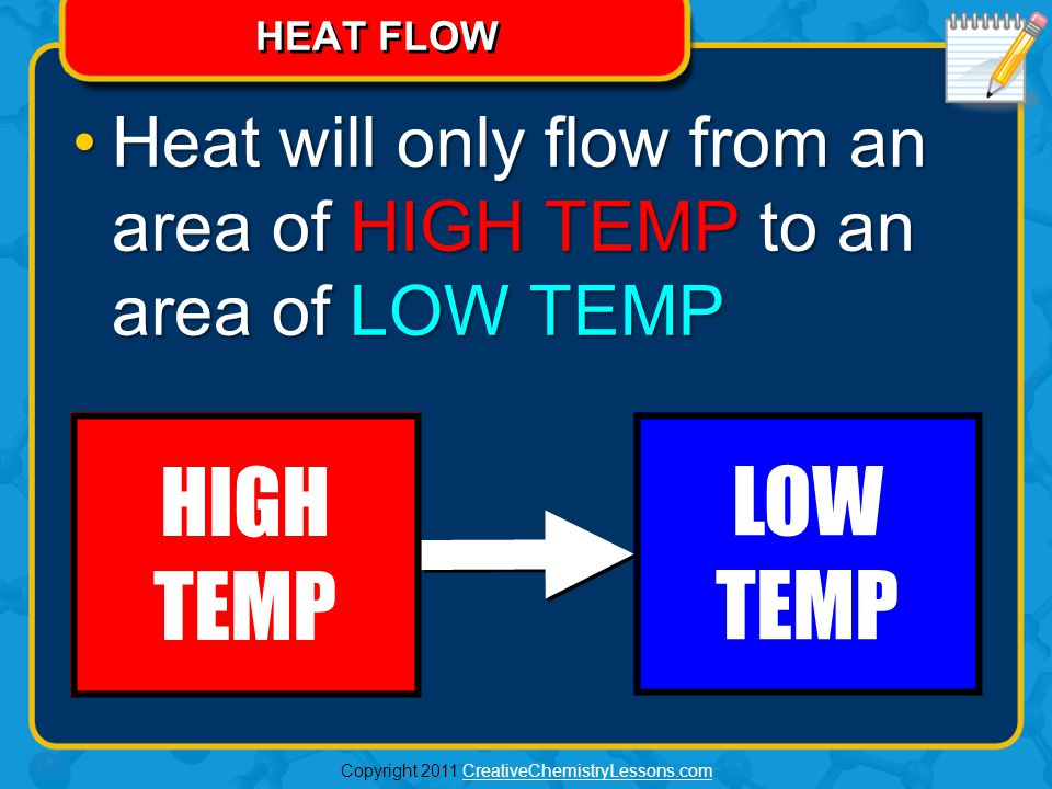 HEAT WILL FLOW… FROM HIGH TO LOW Thermochemistry Video IS IT TRUE THAT COLD'S NOT REAL.