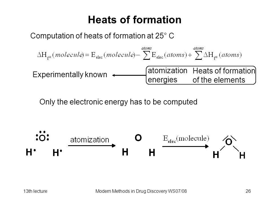 13th lectureModern Methods in Drug Discovery WS07/0826 Heats of formation Computation of heats of formation at 25° C atomization energies Heats of formation of the elements Experimentally known Only the electronic energy has to be computed