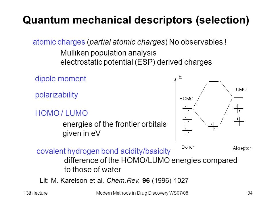13th lectureModern Methods in Drug Discovery WS07/0834 Quantum mechanical descriptors (selection) atomic charges (partial atomic charges) No observables .