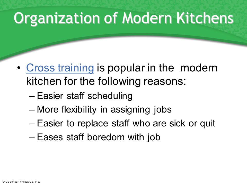 © Goodheart-Willcox Co., Inc. Organization of Modern Kitchens Cross training is popular in the modern kitchen for the following reasons:Cross training