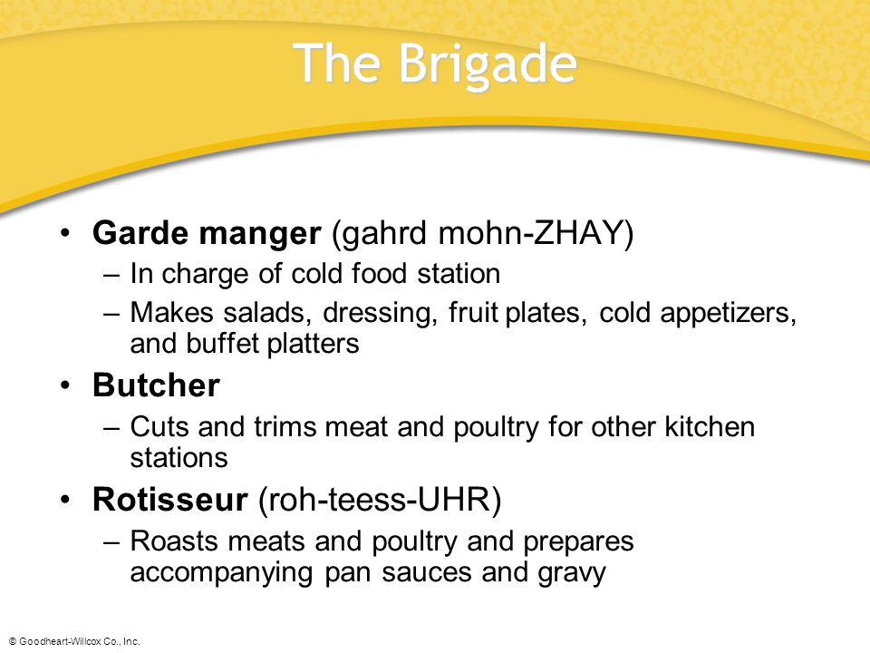 © Goodheart-Willcox Co., Inc.Glossary banquet chef.