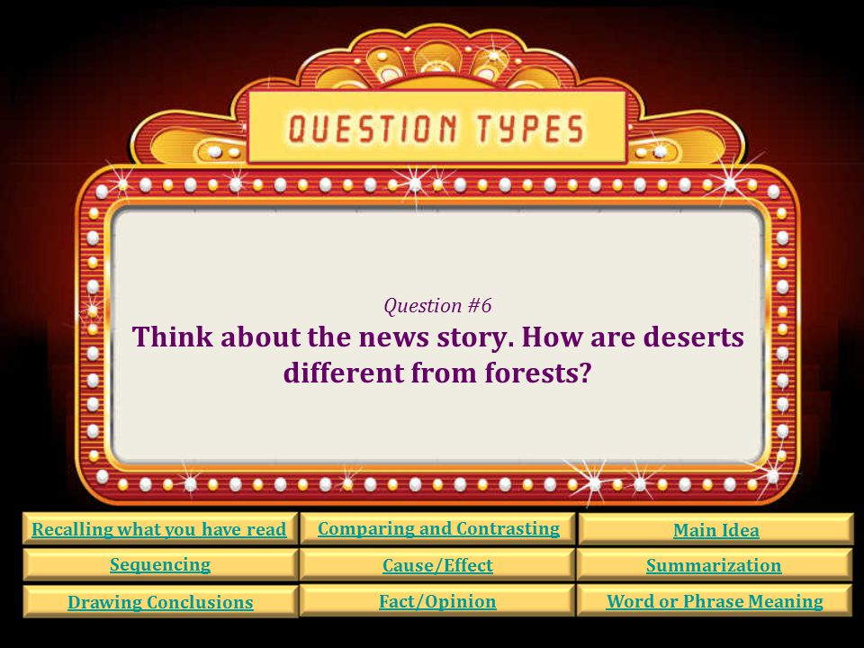 Question #6 Think about the news story.How are deserts different from forests.