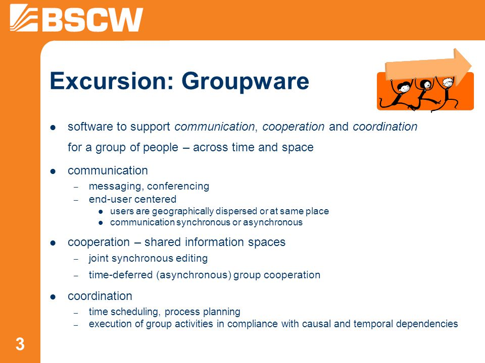 34 Synchronous Communication – Online Status & Communication Tools display online status (≥ BSCW 4.4) – who is currently available and online.