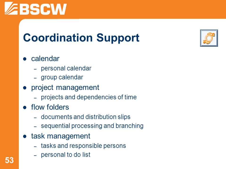 53 Coordination Support calendar – personal calendar – group calendar project management – projects and dependencies of time flow folders – documents and distribution slips – sequential processing and branching task management – tasks and responsible persons – personal to do list
