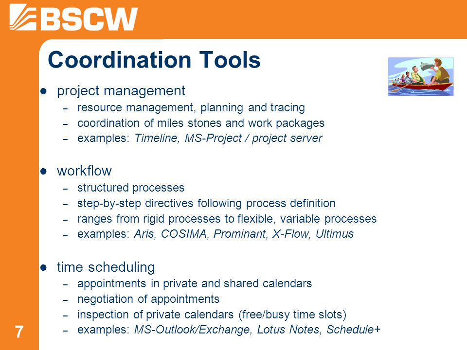 8 BSCW – Shared Workspace System BSCW – Basic Support for Cooperative Work – document management, time management, coordination – supports team work by using shared workspaces – focus: document management in work groups BSCW is … – platform for cooperation in distributed groups – generic tool, not a specific application BSCW facilitates … – project work across sites – networking and exchange of knowledge – central document management – group management and group awareness