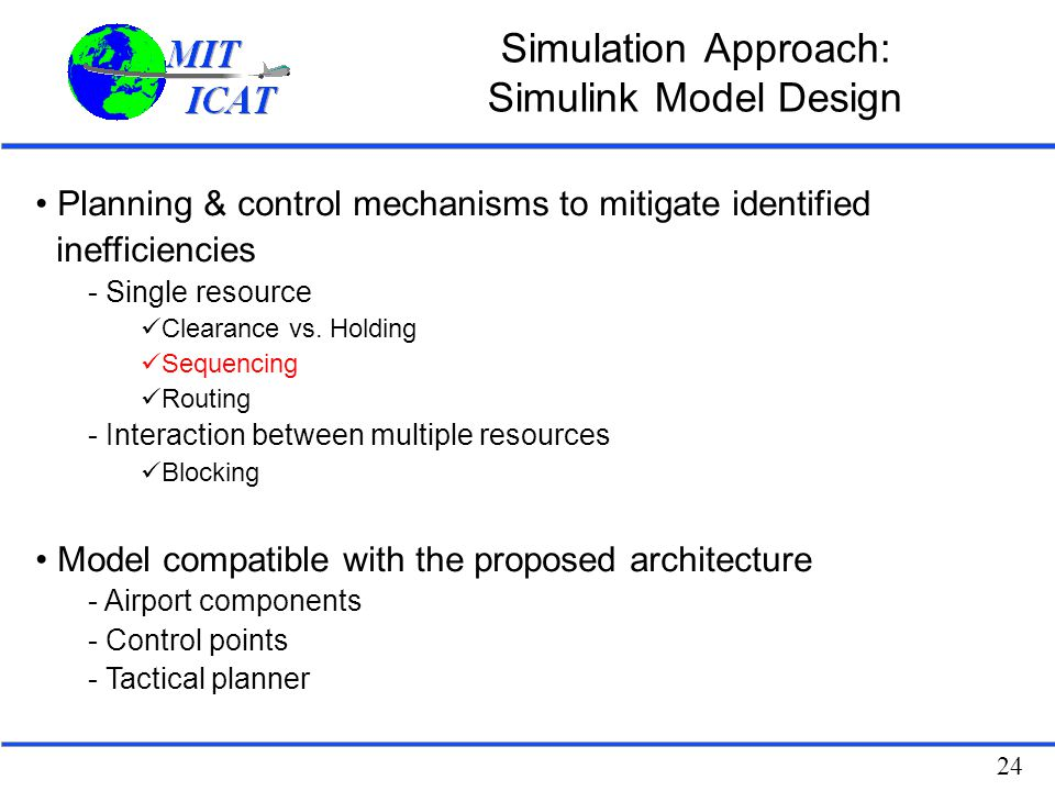 24 Simulation Approach: Simulink Model Design Planning & control mechanisms to mitigate identified inefficiencies - Single resource Clearance vs. Hold