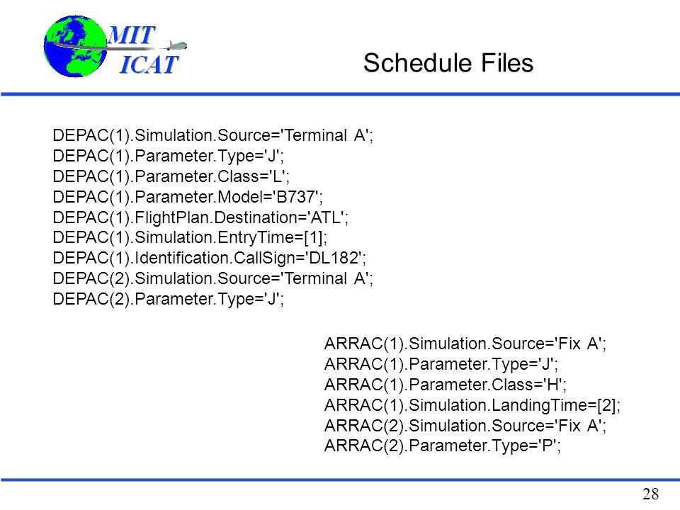 28 Schedule Files DEPAC(1).Simulation.Source= Terminal A ; DEPAC(1).Parameter.Type= J ; DEPAC(1).Parameter.Class= L ; DEPAC(1).Parameter.Model= B737 ; DEPAC(1).FlightPlan.Destination= ATL ; DEPAC(1).Simulation.EntryTime=[1]; DEPAC(1).Identification.CallSign= DL182 ; DEPAC(2).Simulation.Source= Terminal A ; DEPAC(2).Parameter.Type= J ; ARRAC(1).Simulation.Source= Fix A ; ARRAC(1).Parameter.Type= J ; ARRAC(1).Parameter.Class= H ; ARRAC(1).Simulation.LandingTime=[2]; ARRAC(2).Simulation.Source= Fix A ; ARRAC(2).Parameter.Type= P ;