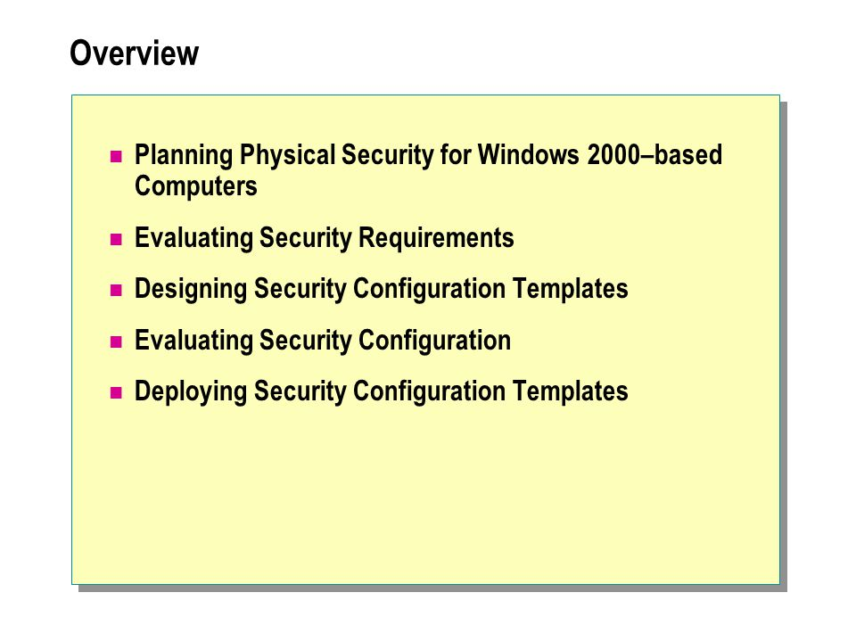 Overview Planning Physical Security for Windows 2000–based Computers Evaluating Security Requirements Designing Security Configuration Templates Evaluating Security Configuration Deploying Security Configuration Templates