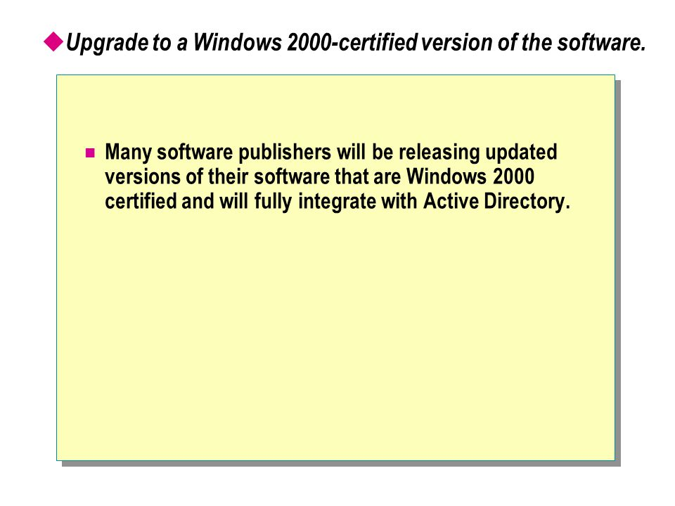 Upgrade to a Windows 2000-certified version of the software.