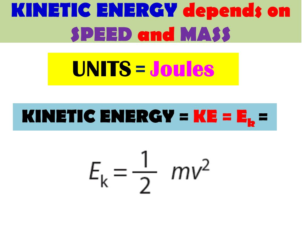 KINETIC ENERGY = KE = E k = UNITS = Joules KINETIC ENERGY depends on SPEED and MASS