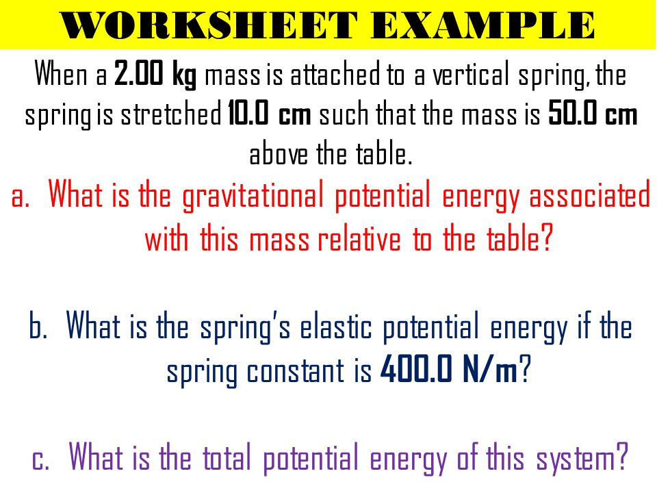 WORKSHEET EXAMPLE When a 2.00 kg mass is attached to a vertical spring, the spring is stretched 10.0 cm such that the mass is 50.0 cm above the table.