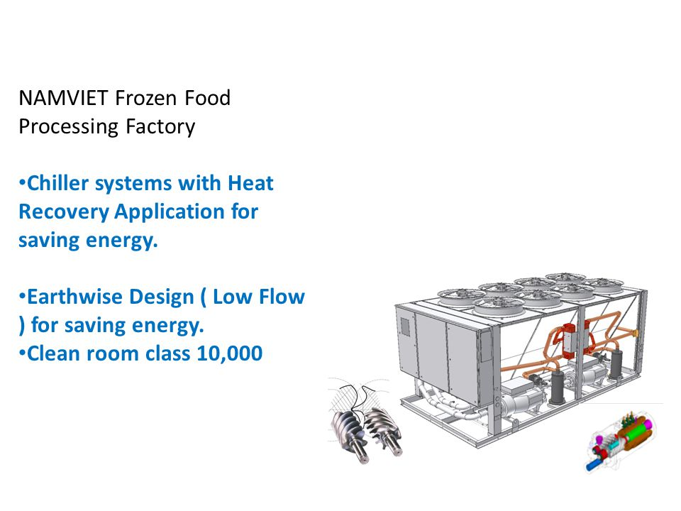 BACH KHOA NAMVIET Frozen Food Processing Factory Chiller systems with Heat Recovery Application for saving energy.