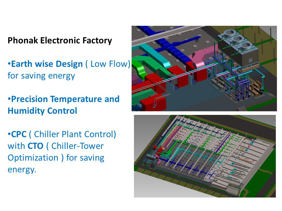 BACH KHOA Phonak Electronic Factory Earth wise Design ( Low Flow) for saving energy Precision Temperature and Humidity Control CPC ( Chiller Plant Control) with CTO ( Chiller-Tower Optimization ) for saving energy.