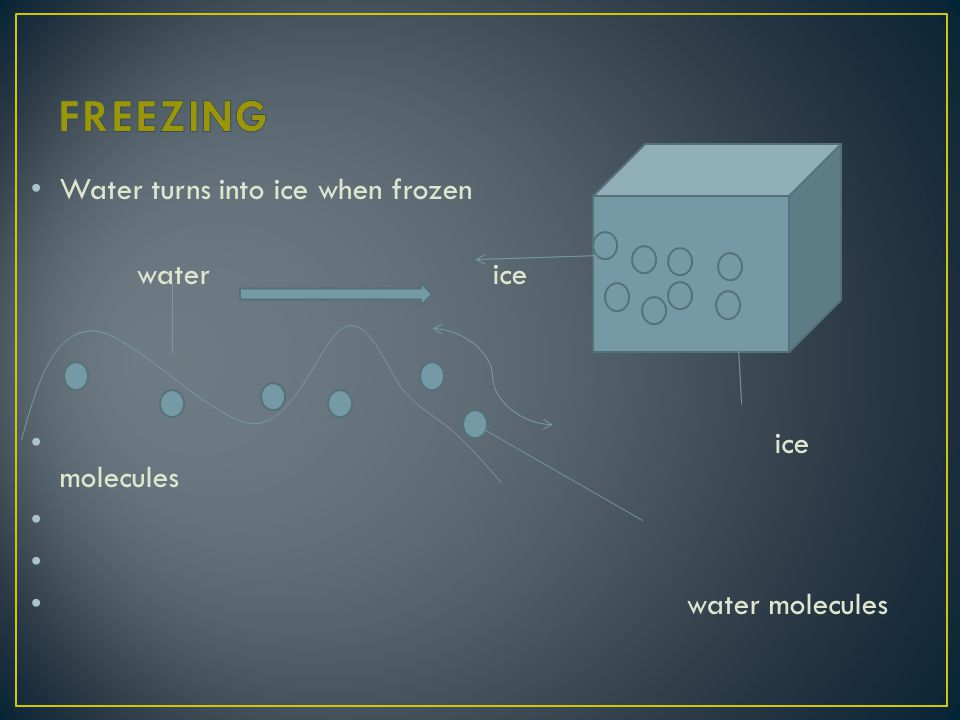 Water turns into ice when frozen water ice ice molecules water molecules