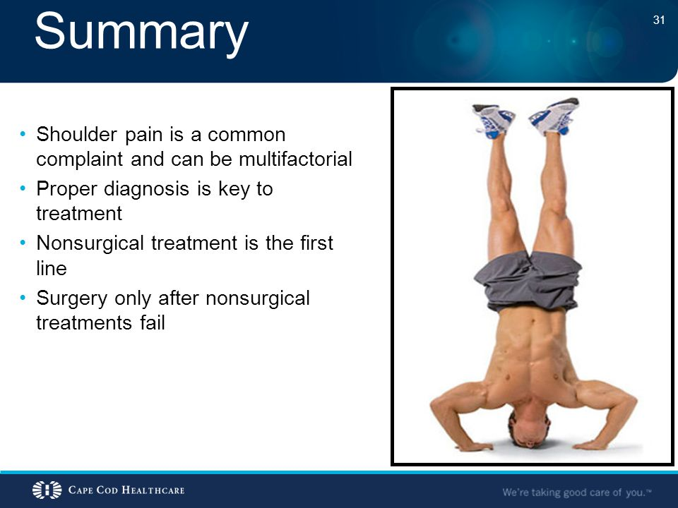 Summary Shoulder pain is a common complaint and can be multifactorial Proper diagnosis is key to treatment Nonsurgical treatment is the first line Sur