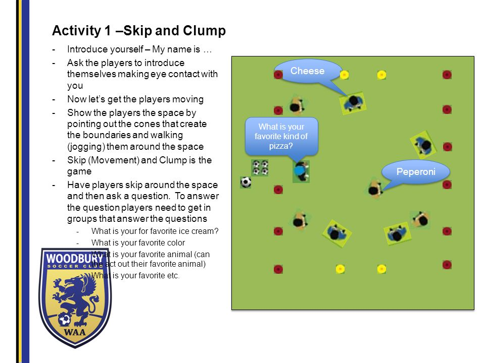 Activity 2 – Freeze Tag -Select a few players to be It the others will be avoiding being frozen -When players get tagged the need to stand with legs spread apart -To unfreeze a player a player has to crawl through their legs -Play without the ball and then add the ball I'm Frozen I'm free