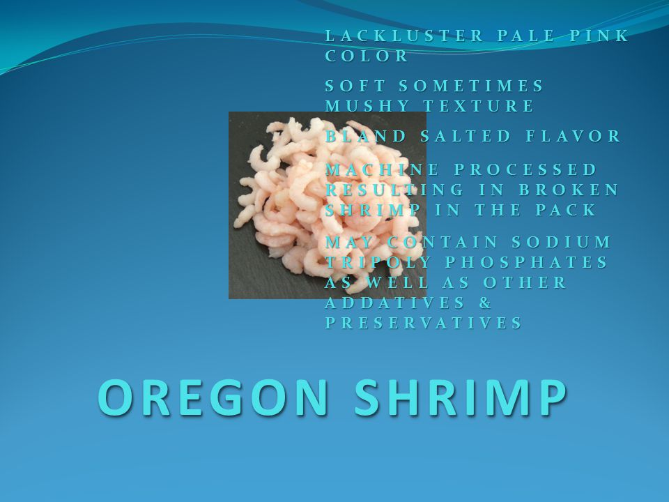 OREGON SHRIMP LACKLUSTER PALE PINK COLOR SOFT SOMETIMES MUSHY TEXTURE BLAND SALTED FLAVOR MAY CONTAIN SODIUM TRIPOLY PHOSPHATES AS WELL AS OTHER ADDATIVES & PRESERVATIVES MACHINE PROCESSED RESULTING IN BROKEN SHRIMP IN THE PACK
