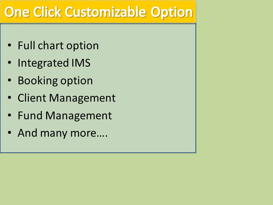 Full chart option Integrated IMS Booking option Client Management Fund Management And many more….