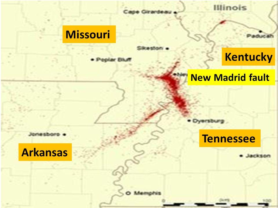 Missouri Kentucky Arkansas Tennessee New Madrid fault