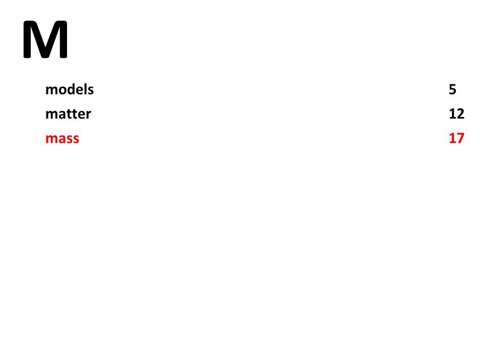 M models5 matter12 mass17