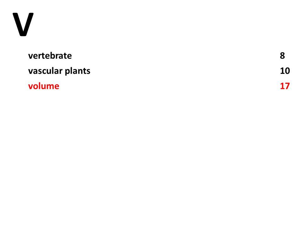 V vertebrate8 vascular plants10 volume17