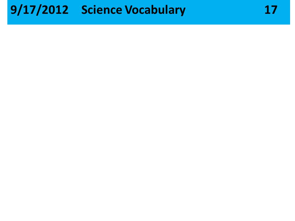 9/17/2012 Science Vocabulary 17