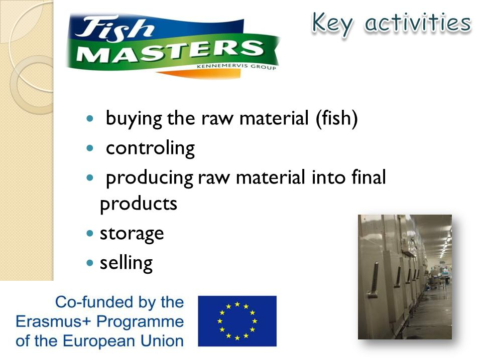 buying the raw material (fish) controling producing raw material into final products storage selling