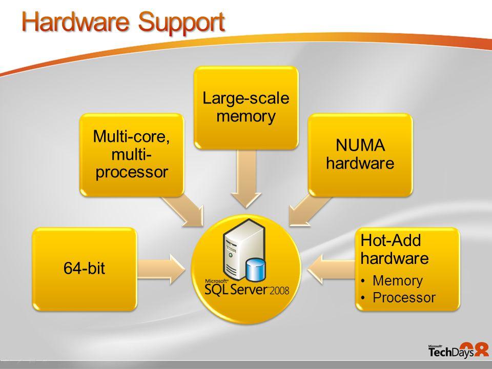 64-bit Multi-core, multi- processor Large-scale memory NUMA hardware Hot-Add hardware Memory Processor