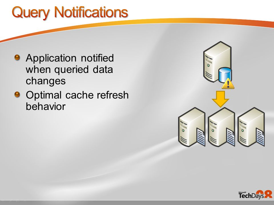 Application notified when queried data changes Optimal cache refresh behavior
