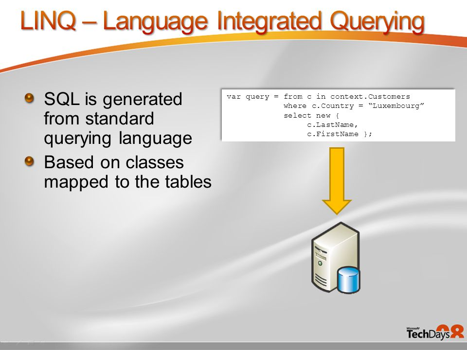 SQL is generated from standard querying language Based on classes mapped to the tables var query = from c in context.Customers where c.Country = Luxembourg select new { c.LastName, c.FirstName }; var query = from c in context.Customers where c.Country = Luxembourg select new { c.LastName, c.FirstName };