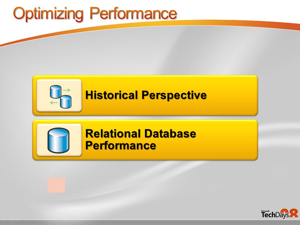 Enterprise Manager On-Demand Memory On-Demand Disk SQL Server 7.0 Multiple Server Instances Distributed Partitioned Views, Indexed Views 64-GB Memory Support (AWE) SQL Server 2000 SQL Server Management Studio 64-bit Support, Partitioning, Snapshot Isolation Database Maintenance Plans SQL Server 2005 Resource Governor Performance Studio Plan Freezing SQL Server 2008