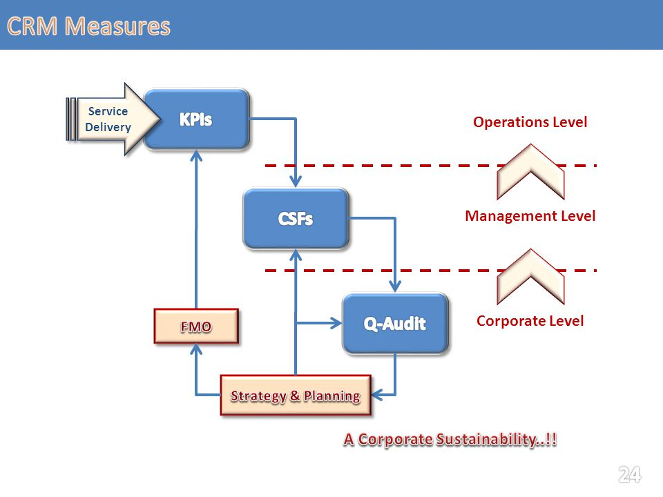 Service Delivery Operations Level Management Level Corporate Level