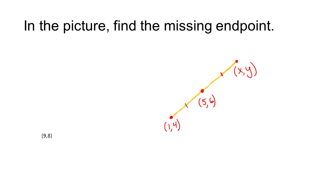 In the picture, find the missing endpoint. (9,8)